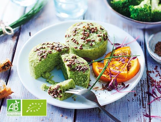 Légumes bio cuisinés - Flans de brocolis biologiques