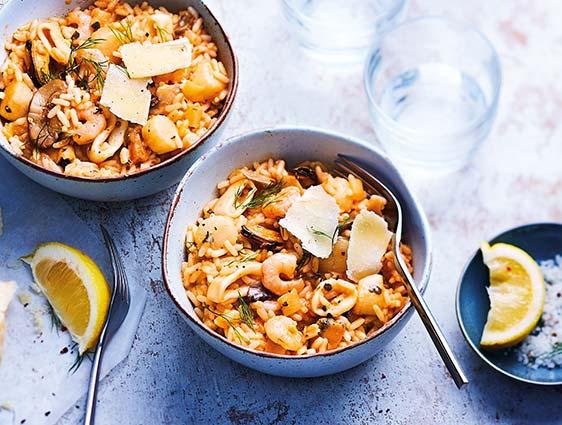 Plats cuisinés à partager - Risotto aux fruits de mer