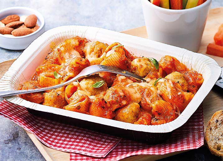 Pipe rigate sauce tomate et boulettes au poulet