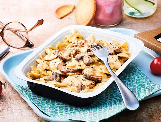 Plats cuisinés individuels - Farfallini au poulet et champignons