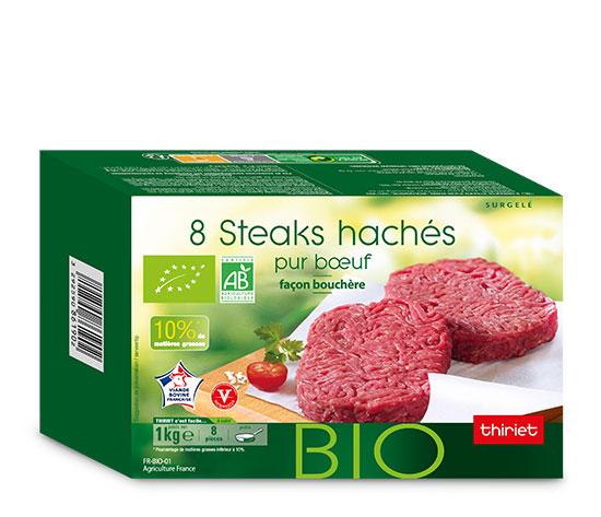 8 Steaks hachés façon bouchère 10% M.G. biologiques