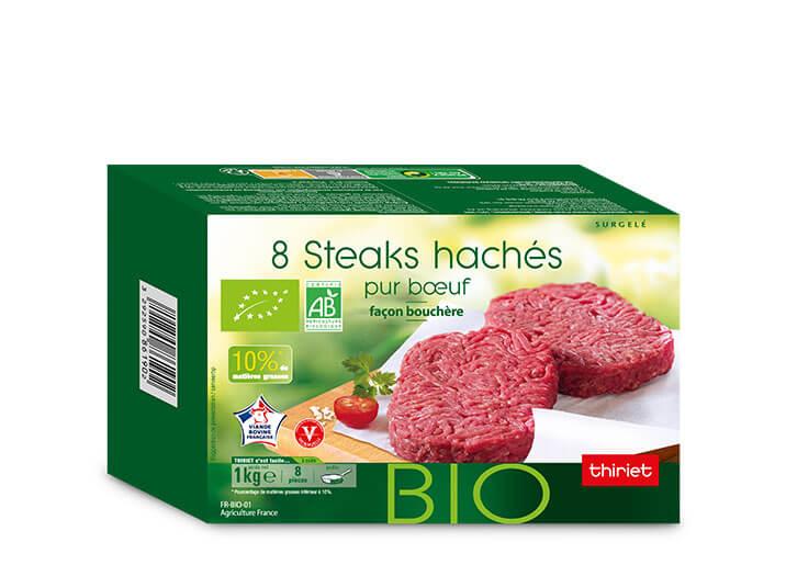 8 Steaks hachés pur boeuf 10% M.G. biologiques