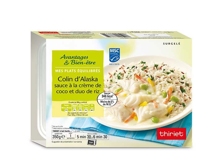Colin d'Alaska sauce crème de coco et duo de riz
