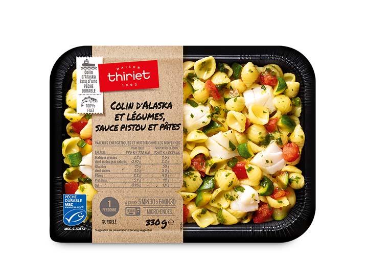 Colin d'Alaska et légumes, sauce pistou et pâtes