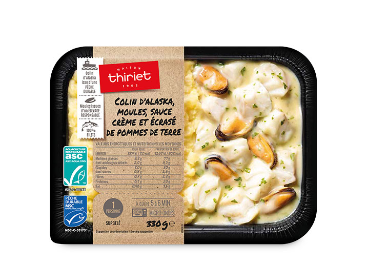 Colin d'Alaska, moules sauce crème et p. de terre