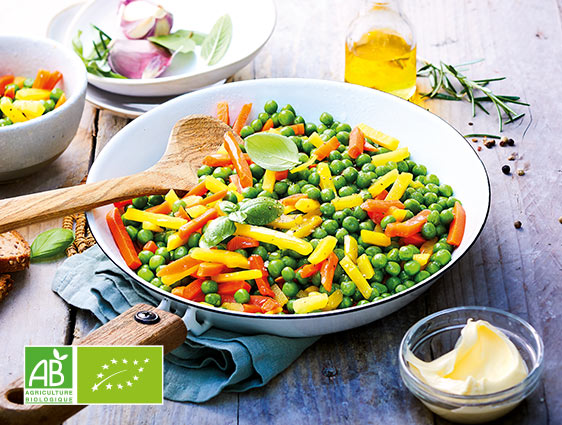 Légumes bruts bio - Petits pois et duo de carottes biologiques