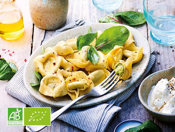 Légumes cuisinés bio - Tortellini ricotta/épinards biologiques