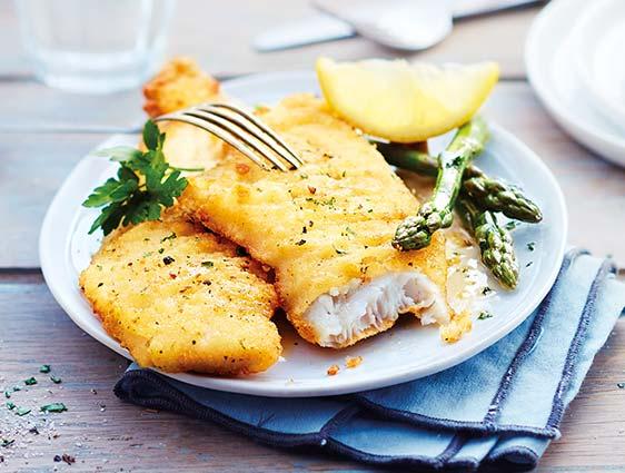 Filets de poissons meunière - Filets de merlu blanc du Cap meunière citron