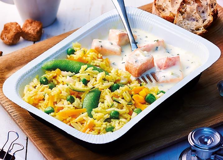 Saumon sauce moutarde à l'estragon et riz basmati