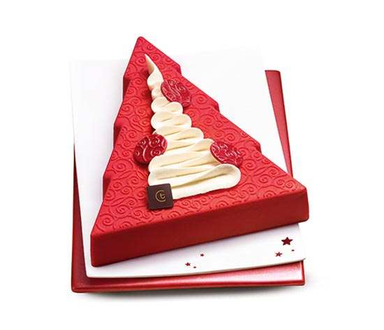 Bûche pâtissière Sapin vanille - fruits rouges