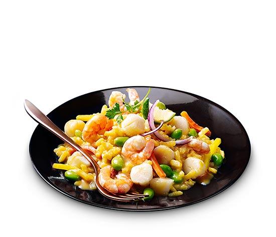 Risotto aux crevettes et noix de St-Jacques