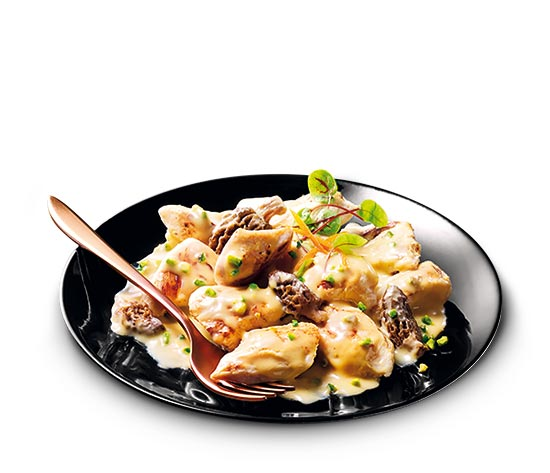Poulet jaune sauce au Chablis et morilles