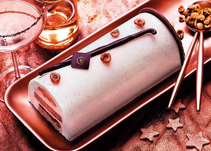 Bûche pâtissière vanille - caramel - praliné