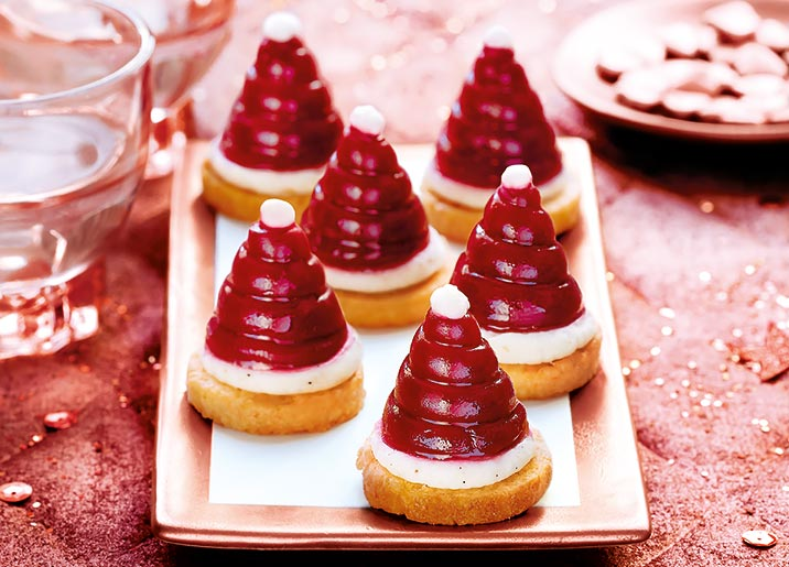 6 Mini bonnets de Père Noël framboise vanille coco