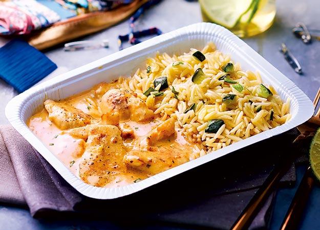 Poulet sauce curry coco et pâtes risoni