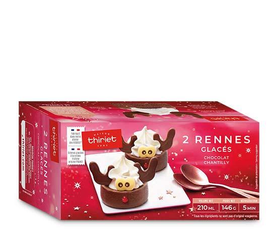Bûchettes glacées rennes chocolat - chantilly