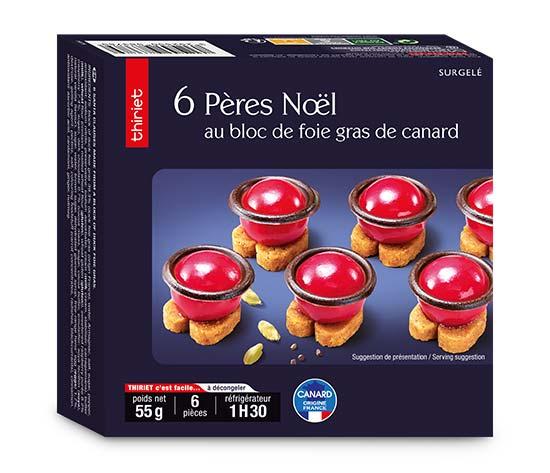 6 Pères Noël au bloc de foie gras de canard