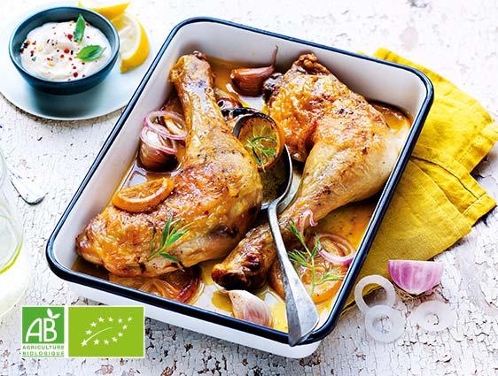 Viandes volailles - Cuisses de poulet jaune fermier bio Thiriet