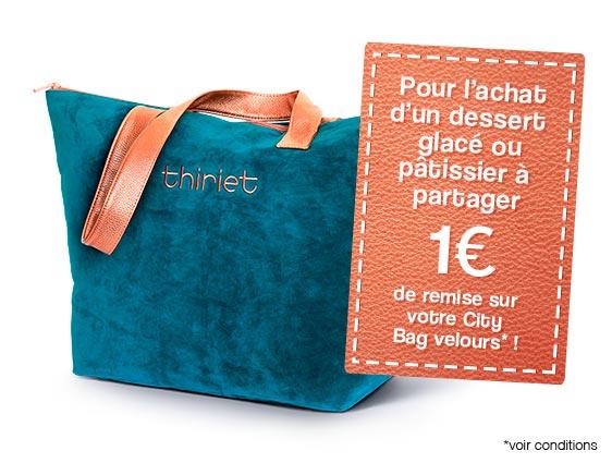Desserts - 1€ de réduction sur votre City Bag Velours pour 1 dessert à partager acheté