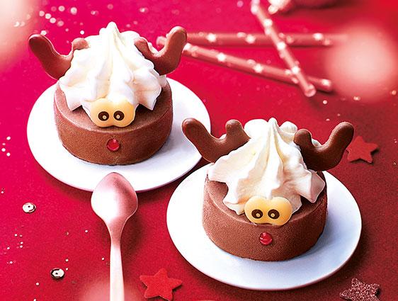 Desserts glacés - Bûchettes glacées rennes de Noël chocolat-chantilly
