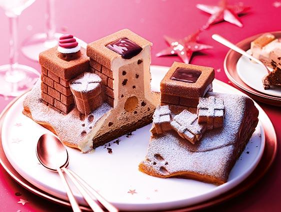 Desserts glacés - Bûche glacée au chocolat en attendant le Père Noël