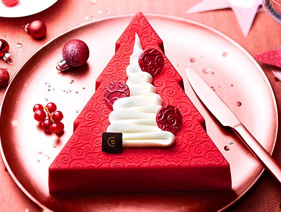 Pâtisseries - Bûche pâtissière Sapin de Noël vanille-fruits rouges
