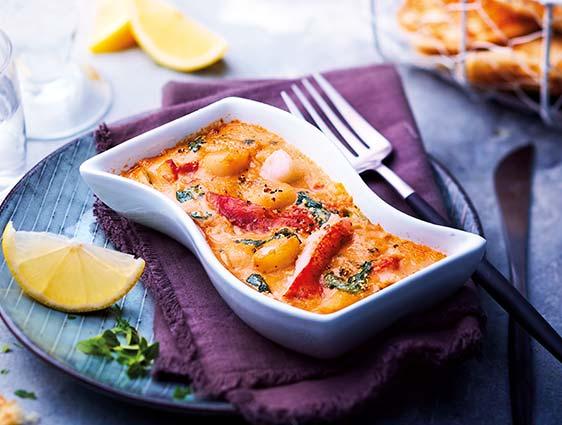 Entrées Taiteur - Gratins de homard et Saint-Jacques sauce homardine