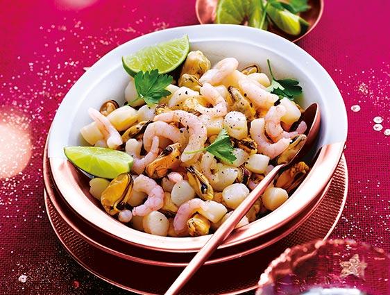 Fruits de mer - Mélange de moules noix de Saint-Jacques et crevettes