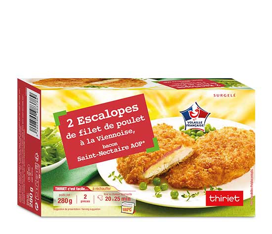 2 Escalopes de filet poulet, bacon-St Nectaire AOP