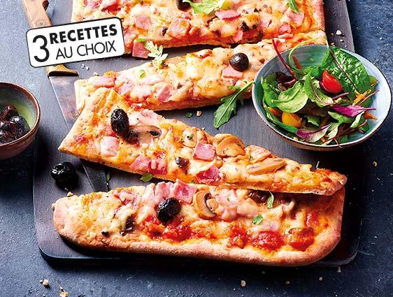 Pizzas surgelées en promotion - Le lot de 2 pizzas familiales au choix parmi 3 recettes