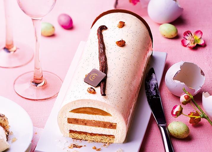 Entremets pâtissier vanille - caramel - praliné