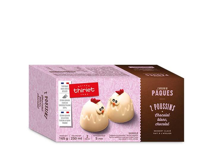 2 Poussins glacés chocolat blanc - chocolat