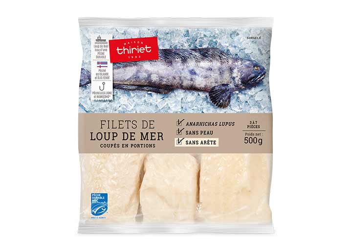 Filets de loup de mer coupés en portions