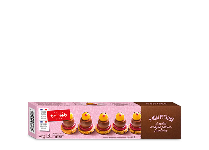6 Mini poussins chocolat, mangue passion, framboise