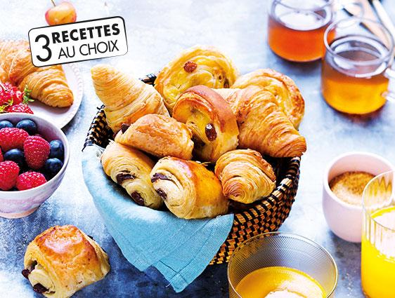 Croissants et pains au chocolat - 30 mini viennoiseries parmi 3 recettes au choix en promotion