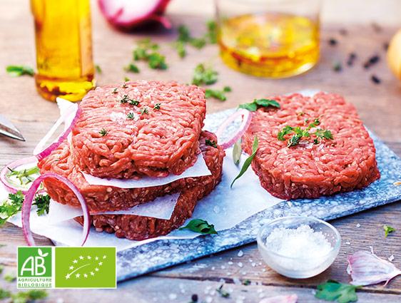 Viandes Bio - Steaks hachés pur bœuf biologiques