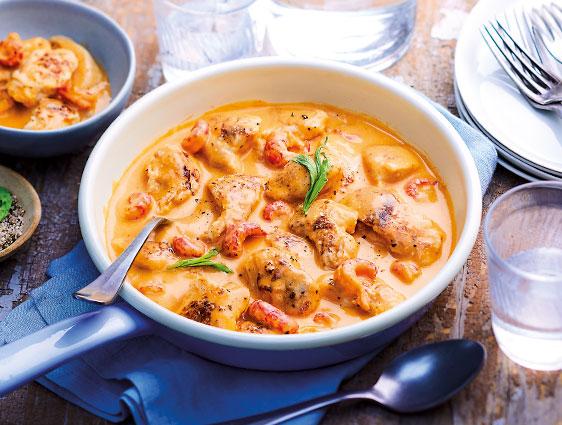 Plats à partager - Poulet aux écrevisses sauce crustacés