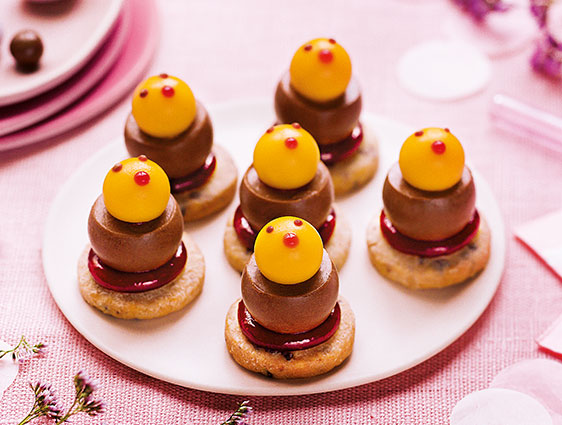Mignardises - Mini poussins chocolat mangue passion framboise