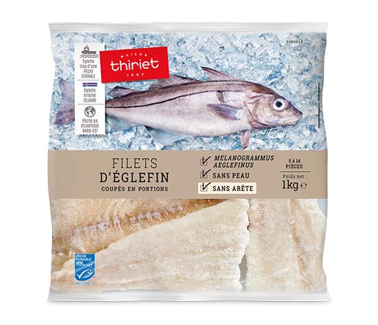 Filets d'églefin coupés en portions
