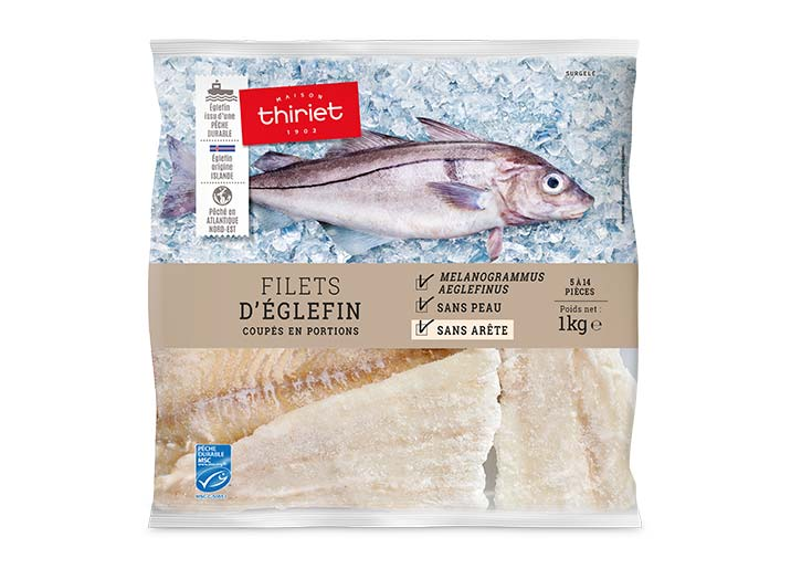 Filets d'églefin coupés en portions
