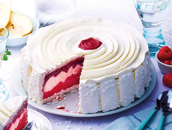 Desserts glacés en promotion - Vacherin Framboise Poire vanillée Cassis
