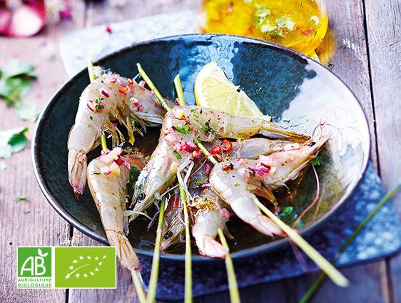 Fruits de mer en promotion - Crevettes entières crues biologiques