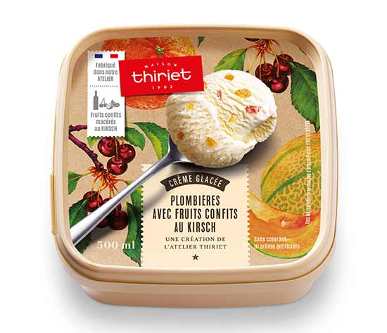Crème glacée Plombières avec fruits au Kirsch