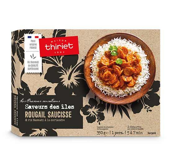 Rougail saucisse et riz basmati à la coriandre