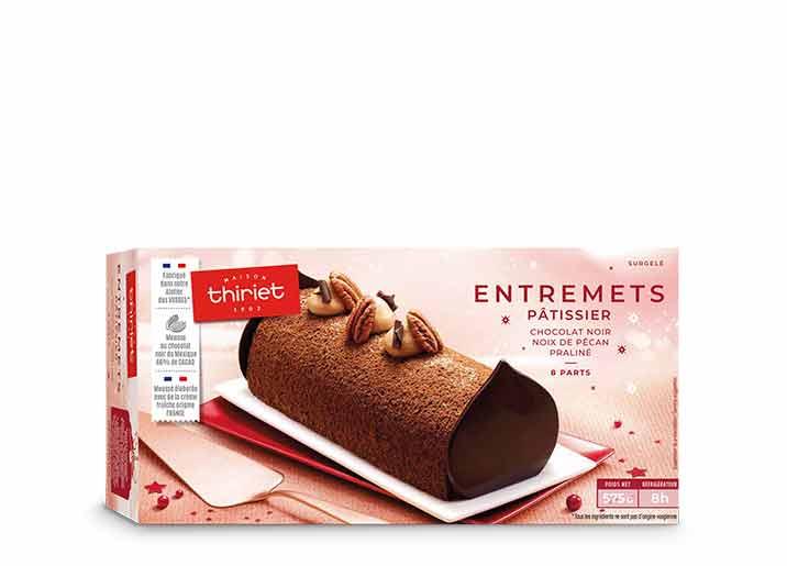 Entremets pâtissier chocolat noir - pécan - praliné