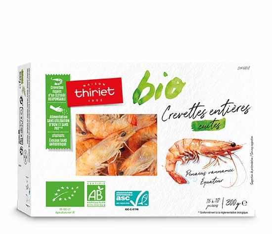 Crevettes entières cuites biologiques : la 2ème à -60%