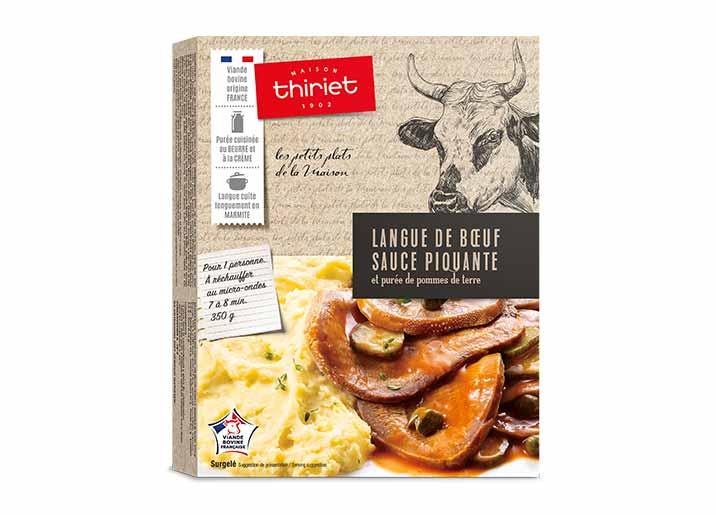 Langue de bœuf sauce piquante et purée