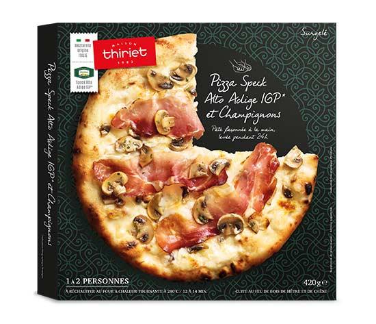 Pizza speck Alto Adige IGP et champignons