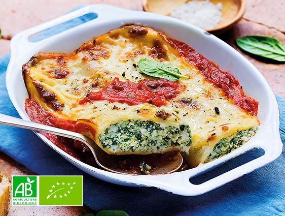 Plats cuisinés bio - Cannelloni ricotta épinards biologiques