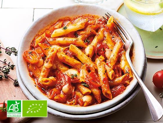 Bio - Penne sauce tomate et mozzarella biologiques